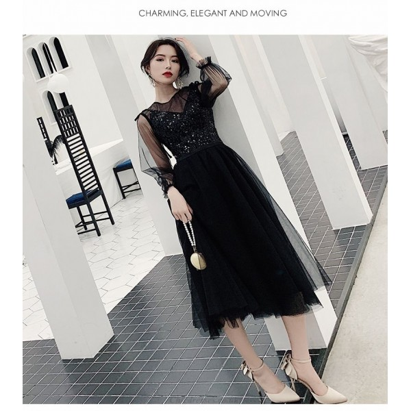 Fashion Medium-length Black Prom Dress With Sleeveless Illusion-neck Invisible Zipper Party Dress With Sequines New Arrival