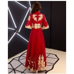 Fasgion Floor-length Stand Collar Invisible Zipper Half Sleevs Red Prom Dress New Arrival