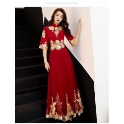 Fasgion Floor-length Stand Collar Invisible Zipper Half Sleevs Red Prom Dress