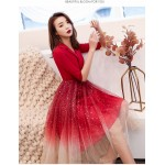 Noble and Fashionable Medium-length Red Satin Tulle Prom Dress Suit Collar Invisible Zipper Evening Dress With Sequines New Arrival