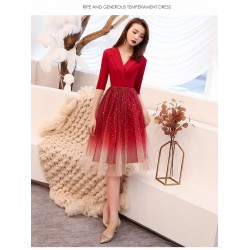 Noble and Fashionable Medium-length Red Satin Tulle Prom Dress Suit Collar Invisible Zipper Evening Dress With Sequines