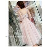 Romantic Medium-length Blushing Pink Evening Dress V-neck Lace-up Half Sleeves Prom Dress New Arrival