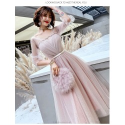 Romantic Medium Length Blushing Pink Evening Dress V Neck Lace Up Half Sleeves Prom Dress