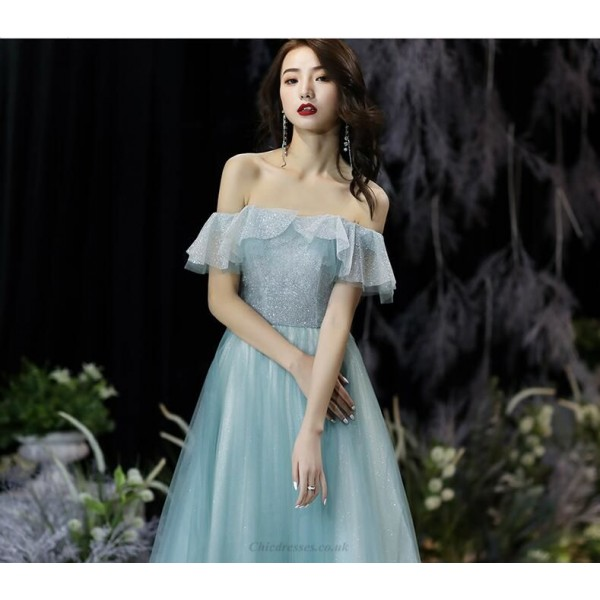 Fashionable and Sexy Floor-length Jade Green Tulle Eveing Dress Off The Shoulder Lace-up Prom Dress New Arrival