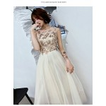 Fashion Floor-length White Tulle Semi Formal Dress Crew Neck Zipper Back Sleeveless Prom Dress With Sequines New Arrival