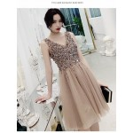 A-line Knee-length Champagne Tulle Cocktail Dress V-neck Zipper Back Sleeveless Prom Dress With Sequines New Arrival