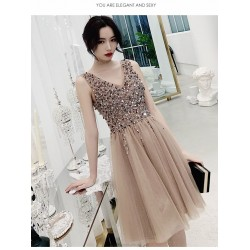 A Line Knee Length Champagne Tulle Cocktail Dress V Neck Zipper Back Sleeveless Prom Dress With Sequines