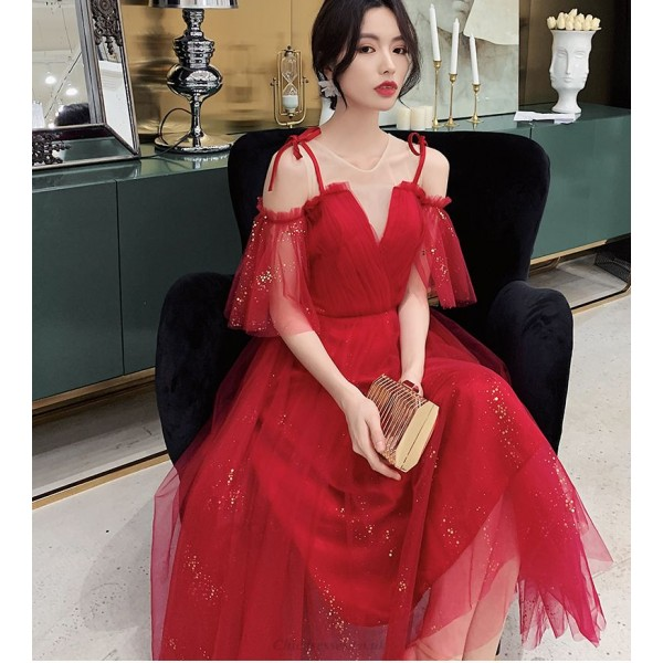 Glamorous Floor-length Lace-up Fashion Short Sleeves Illusion Neck Prom Dress With Sequines New Arrival