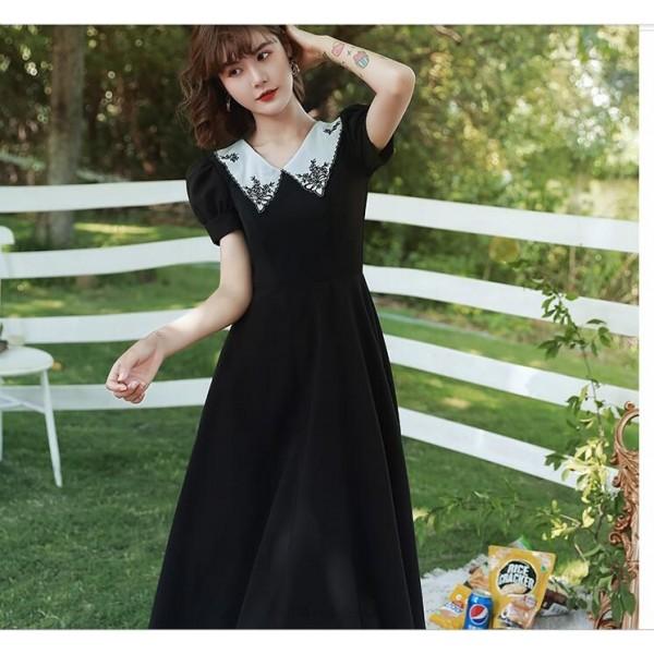 Fashion Lapel Medium-length Zipper Back Black Chiffon Evening Dress New Arrival