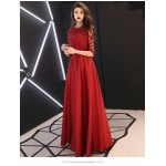 A-line Floor-length Red Eveing Dress Half Sleeves Invisible Zipper Lace Crew Neck Prom Dress New Arrival