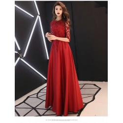 A-line Floor-length Red Eveing Dress Half Sleeves Invisible Zipper Lace Crew Neck Prom Dress