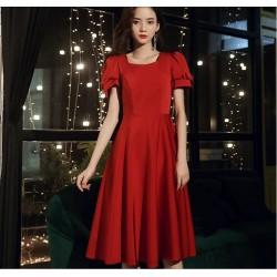 Allure Medium Length Queen Anne Neck Invisible Zipper Short Sleeves Evening Dress