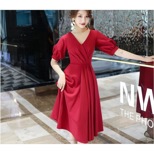 A-line Medium-length Invisible Zipper Short Sleeves V-neck Evening/Prom Dress New Arrival