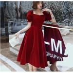 A-line Medium-length Burgungy Evening Dress Fashionable and Chic Neckline Invisible Zipper Short Sleeves Prom Dress With Buttons New Arrival