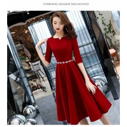 A-line Medium-length Burgundy Chiffon Evening Dress Fashionable and Chic Neckline Half Sleeves Invisible Zipper Cocktail/Party Dress