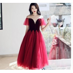 Fashion Medium Length Burgundy Tulle Evening Dress Illusion Neck Lace Up Semi Formal Dress
