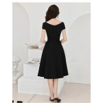 Simple Knee-length Black Chiffon Semi Formal Dress V-neck Invisible Zipper Cocktail/Party Dress New Arrival