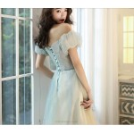 Fashion Floor-length Champagne Tulle Off The Shoulder Lace-up Prom Dress With Sequines New Arrival