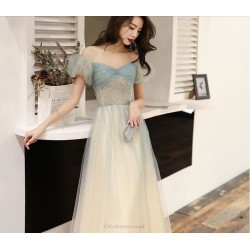 Fashion Floor Length Champagne Tulle Off The Shoulder Lace Up Prom Dress With Sequines