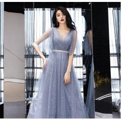 Noble Temperament Floor Length Tulle Evening Dress V Neck Zipper Back Fashion Sleeves A Line Prom Dress With Sequines