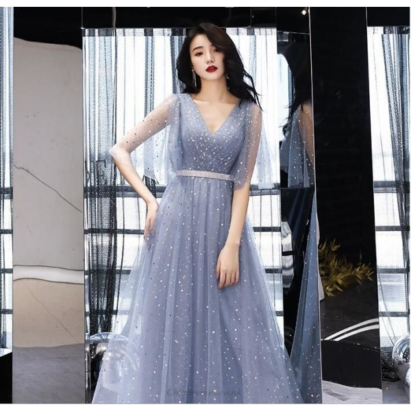 Noble Temperament Floor-length Tulle Evening Dress V-neck Zipper Back Fashion Sleeves A-line Prom Dress With Sequines New Arrival