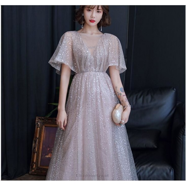 Brilliant Floor-length Sequined Sparkle & Shine Champagne Illusion Neck Lace-up Prom Dress With Sequines New Arrival
