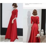 Noble Temperament Floor-length Red Chiffon Evening Dress V-neck Zipper Back Half Sleeves Prom Dress With Sashes New Arrival