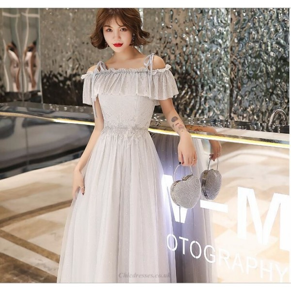 Elegant Floor-length Gray Tulle Evening Dress Spaghetti Straps Off The Shoulder Party Dress With Sequines/Appliques New Arrival