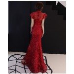 Mermaid/Trumpet Floor-length Red Lace Evening Dress Stand Collar Zipper Back Fashion Sleeves Prom Dress New Arrival