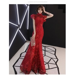 Mermaid Trumpet Floor Length Red Lace Evening Dress Stand Collar Zipper Back Fashion Sleeves Prom Dress