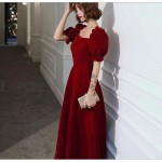 Noble Temperament Floor-length Red Chiffon Evening Dress Queen Anne Neck Fashion Short Sleeves Zipper Back Prom Dress New Arrival