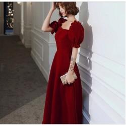 Noble Temperament Floor-length Red Chiffon Evening Dress Queen Anne Neck Fashion Short Sleeves Zipper Back Prom Dress