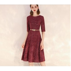 Brilliant Knee-Length Sequined Sparkle & Shine Semi Formal Dress Crew Neck Zipper Back Party Dress With Sequines