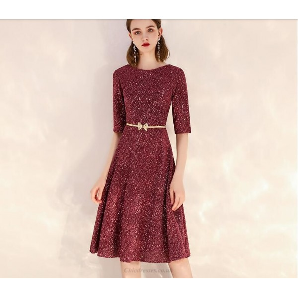 Brilliant Knee-Length Sequined Sparkle & Shine Semi Formal Dress Crew Neck Zipper Back Party Dress With Sequines New Arrival