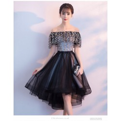 Fashion Front Short Rear Length Black Lace Tulle Party Dress Off The Shoulder Lace Up Exquisite Embroidery Prom Dress