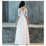 Elegant Floor-length White Lace Evening Dress Off The Shoulder Half Sleeves Lace-up Prom Dress New Arrival