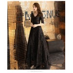 Brilliant Floor-length Black V-neck Prom Dress Half Sleeves Sequined Sparkle & Shine Lace-up Party Dress With Sequines New Arrival