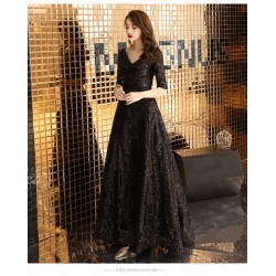 Brilliant Floor-length Black V-neck Prom Dress Half Sleeves Sequined Sparkle & Shine Lace-up Party Dress With Sequines
