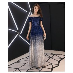 Noble Temperament Floor Length Sequined Sparkle & Shine Prom Dress Crew Neck Invisible Zipper Short Sleeves Party Dress With Sequines