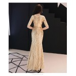 Sheath/Column Floor-length Sequined Sparkle & Shine Glod Prom Dress Half Sleeves Crew Neck Invisible Zipper Party Dress With Sequines New Arrival