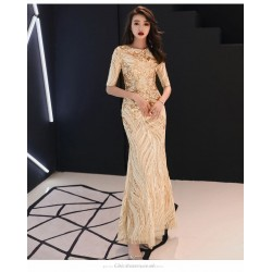 Sheath Column Floor Length Sequined Sparkle & Shine Glod Prom Dress Half Sleeves Crew Neck Invisible Zipper Party Dress With Sequines