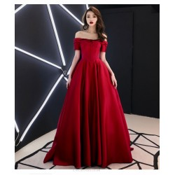 Fashion Court/Train Red Satin Evening Dress Off The Shoulder Invisible Zipper Party Dress