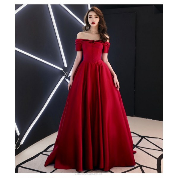 Fashion Court/Train Red Satin Evening Dress Off The Shoulder Invisible Zipper Party Dress New Arrival