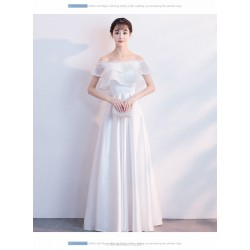 Elegant Floor-length White Chiffon Evening Dress Off The Shoulder Invisible Zipper Prom Dress