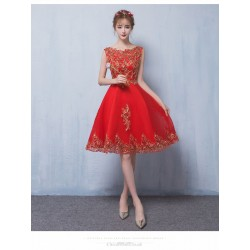 Allure Knee-length Red Tulle Homecoming Dress Exquisite Embroidery Lace-up Crew Neck Cocktail/Party Dress