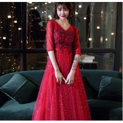 Brilliant Floor Length Sequined Sparkle & Shine Red Half Sleeves Lace Up V Neck Prom Dress With Sequines Appliques