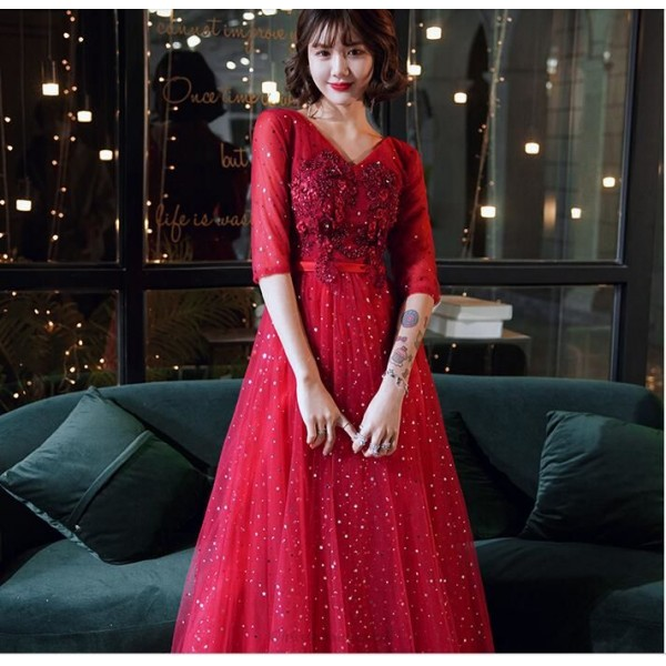 Brilliant Floor-length Sequined Sparkle & Shine Red Half Sleeves Lace-up V-neck Prom Dress With Sequines/Appliques New Arrival