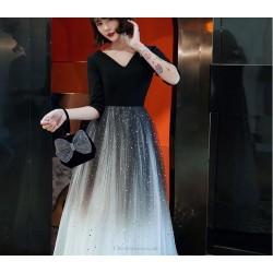 Noble Temperament Floor-length Starry Gradient Dress V-neck Half Sleeves Zipper Back Prom Dress With Sequines