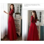 Brilliant Floor-length V-neck Prom Dress With Sleeves/Sequines/Appliques New Arrival