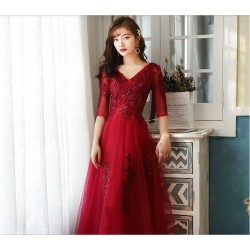 Brilliant Floor Length V Neck Prom Dress With Sleeves Sequines Appliques